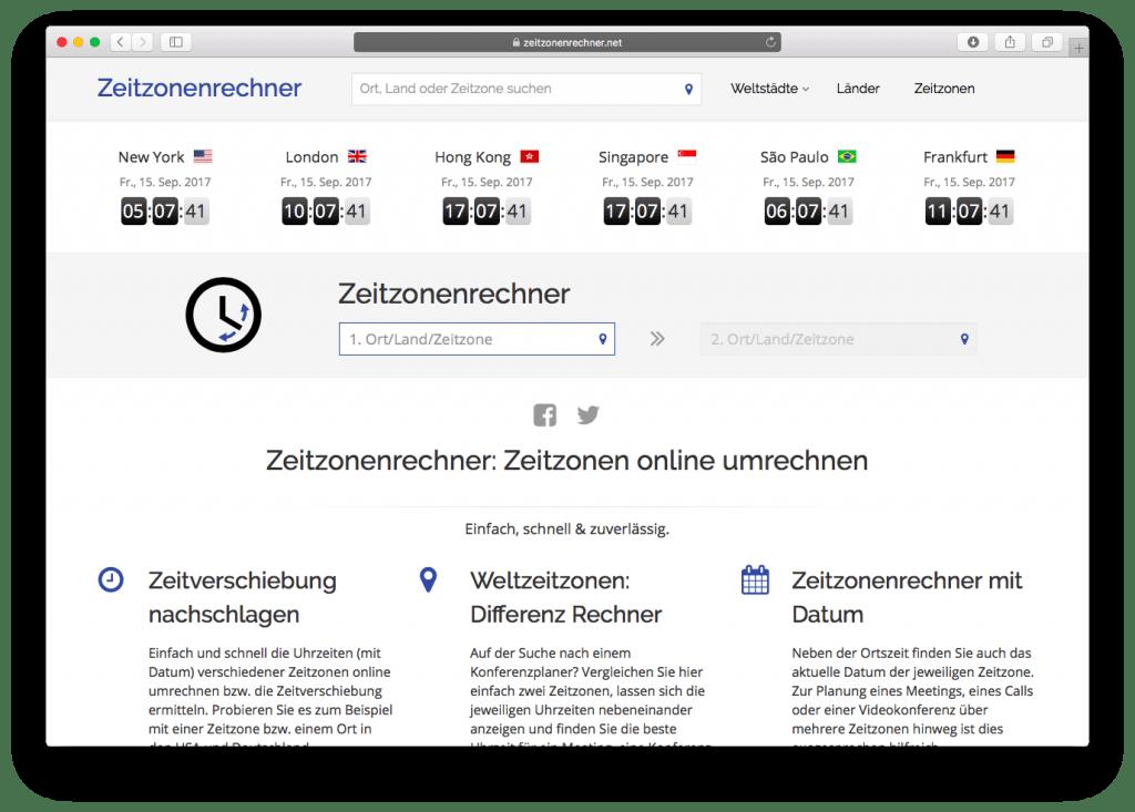 Zeitverschiebung.net Zeitzonenrechner
