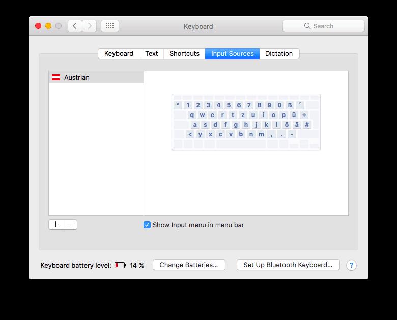 "Make sure""Show input menu in menu bar"" is checked. Apple"