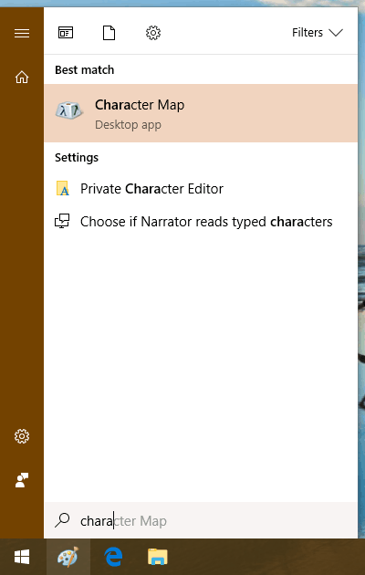 "Open the ""Character Map"" application"