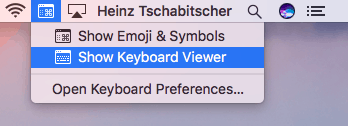 """Select""""Show keyboard viewer"""" from the menu. Apple"""