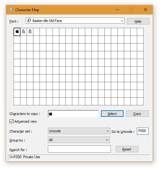"""Type """"F000"""" under""""Go to Unicode"""""""