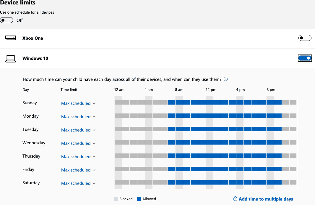 For each day, choose the number of hours of allowed screen time in front of a PC or Xbox respectively