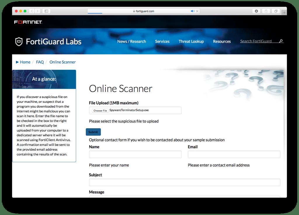 FortiGuard Online Scanner
