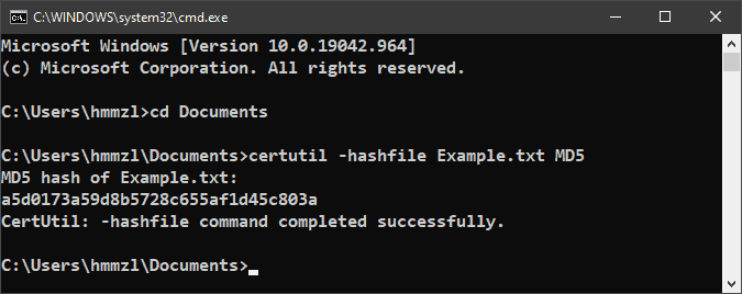 Verify an MD5 checksum on Windows 10 with certutil